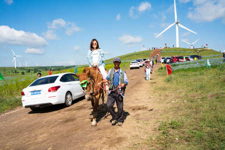 China, Hebei Province, Zhangjiakou City, Zhangbei County, Grassland Tianlu Scenic Area, tourists on the grassland took pictures with their mobile phones Sajtókép