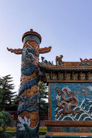 China, Hebei Province, Shijiazhuang City, Baoduzhai Scenic Area, Nine Dragons Wall Banco de Imagens