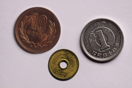 Japanese 1, 5 and 10 Yen coin (macro) photo