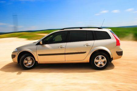 European family car in motion. Stock Photo