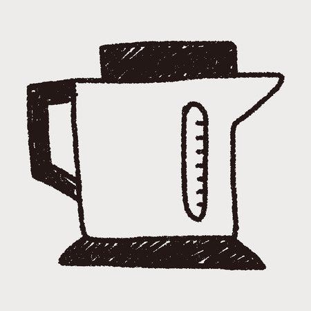 warm water: keukengerei warmwaterkruik doodle Stock Illustratie
