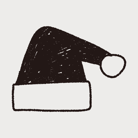 Christmas hat doodle drawing Vector