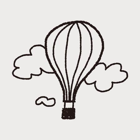 doodle hot air balloon Ilustrace