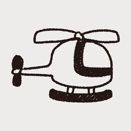 helicopter doodle drawing Vector