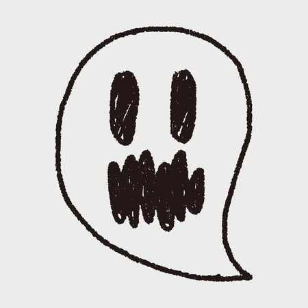 ghost doodle drawing Vector