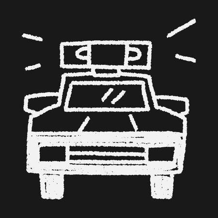 wheel guard: Doodle Police car Illustration