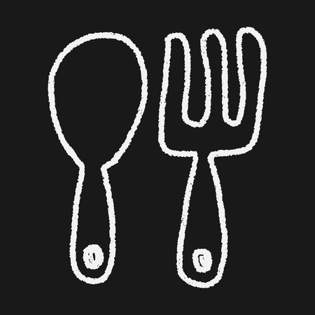 tableware doodle drawing Vector