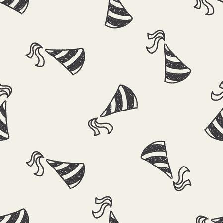 gorros de fiesta: sombreros de fiesta del doodle de fondo sin fisuras patr�n