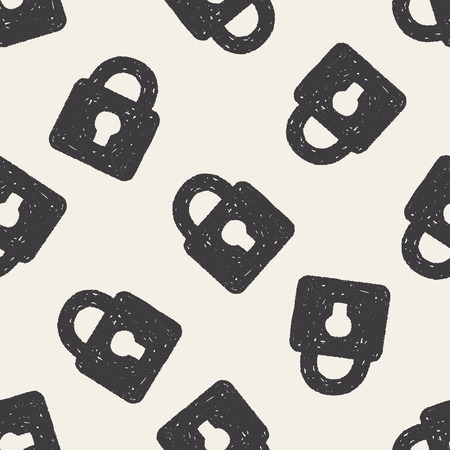 Doodle Lock seamless pattern background Vector