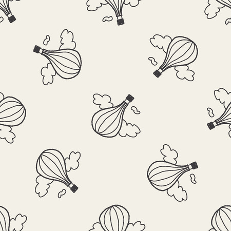 doodle hot air balloon seamless pattern background Vector