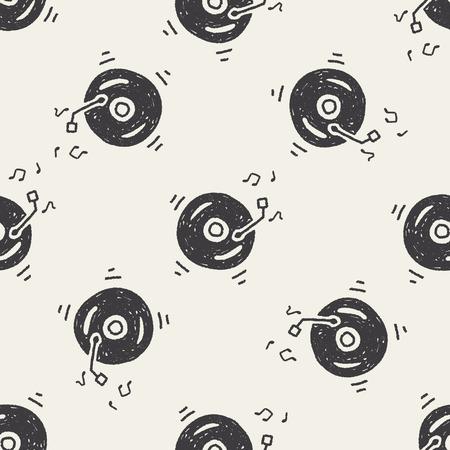 Doodle muziek naadloos patroon