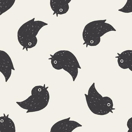 twitter: Doodle twitter seamless pattern background Illustration