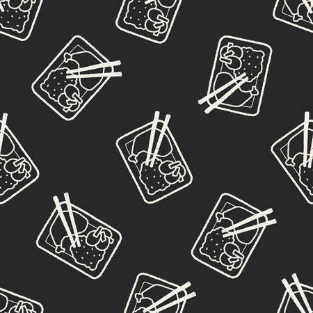 doodle healthy lunch seamless pattern background Vector