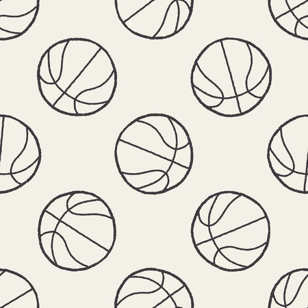 doodle basketball seamless pattern background Vector