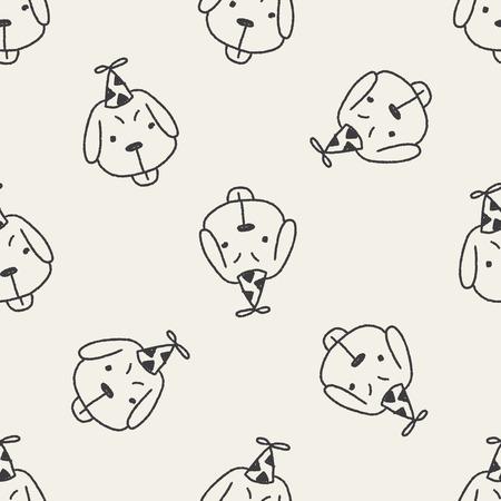 doodle birthday dog seamless pattern background