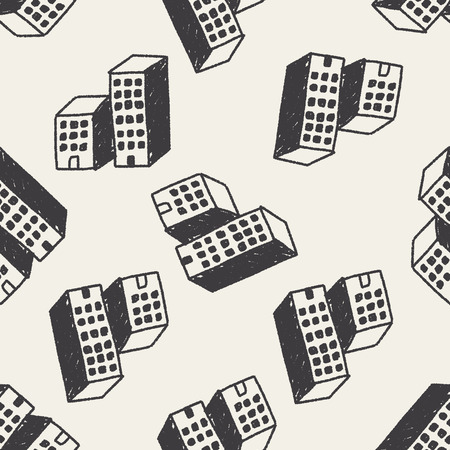 Doodle House seamless pattern background Vector