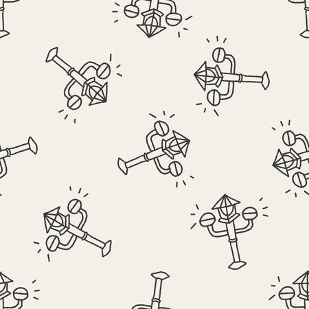 Doodle Streetlights seamless pattern background Vector