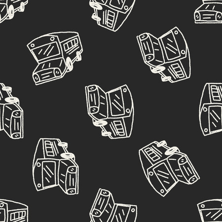 Doodle Bus seamless pattern background Vector