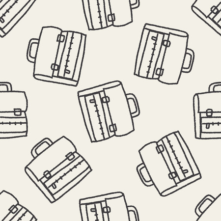 Doodle School bag seamless pattern background Vector