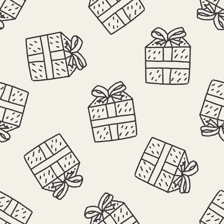 Doodle Gift seamless pattern background Vector