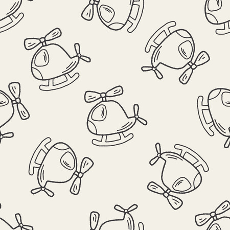 Doodle Helicopters seamless pattern background Vector
