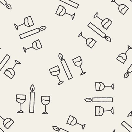 candlelight: doodle candlelight dinner seamless pattern background