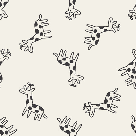 doodle birthday giraffe seamless pattern background