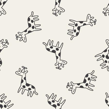 doodle verjaardag giraffe naadloze patroon achtergrond Stock Illustratie