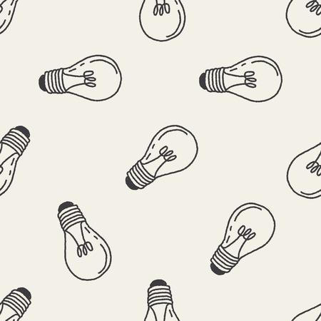 lamp light: Doodle Light bulb seamless pattern background Illustration