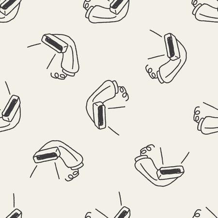 scanner: Doodle Scanner seamless pattern background Illustration