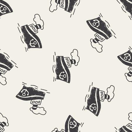 steamship: doodle Stoomschip naadloze patroon achtergrond Stock Illustratie