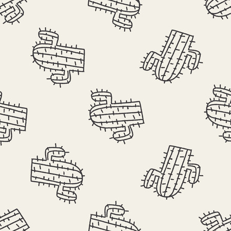 mexico cactus: doodle cactus seamless pattern background