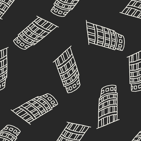 leaning tower: doodle Leaning Tower of Pisa seamless pattern background Illustration