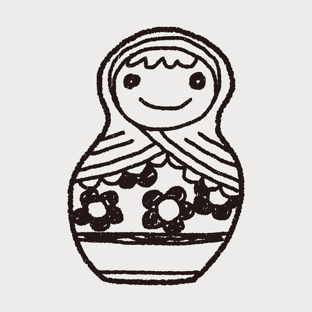 russian dolls: Doodle Russian Dolls Illustration