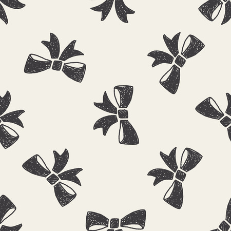 Doodle Bow seamless pattern background Vector
