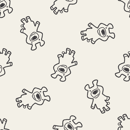 bear doll: Doodle Bear Doll seamless pattern background Illustration