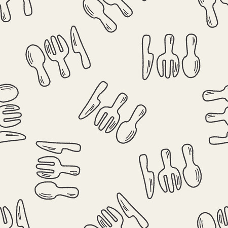 baby cutlery: Doodle Tableware seamless pattern background