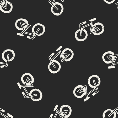 Doodle Bicycle seamless pattern background Illustration