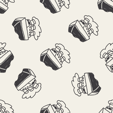 steamship: Doodle Steamship seamless pattern background