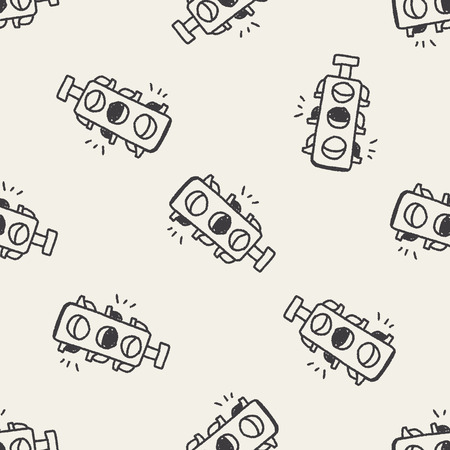 regulate: Doodle Traffic lights seamless pattern background