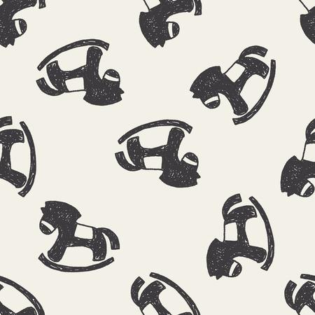 schommelpaard: Doodle Hobbelpaard naadloze patroon achtergrond Stock Illustratie