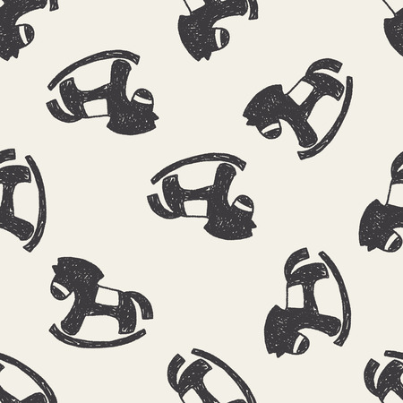 rocking: Doodle Rocking horse seamless pattern background Illustration