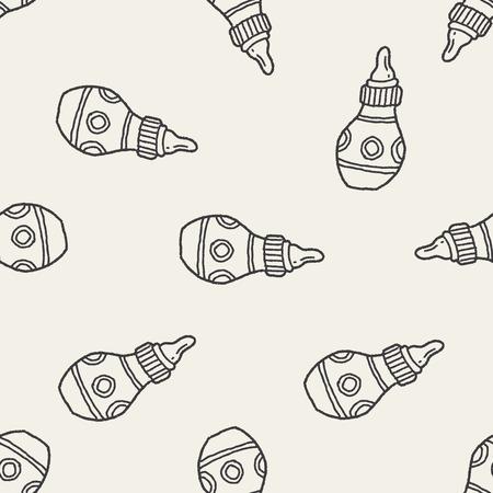 feeding bottle: Doodle Feeding bottle seamless pattern background