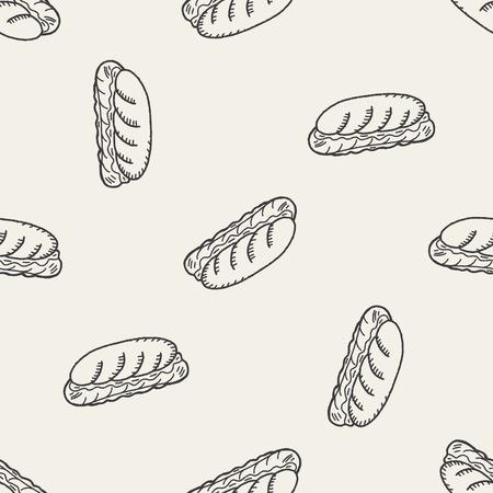dog pen: Doodle Hot Dog seamless pattern background
