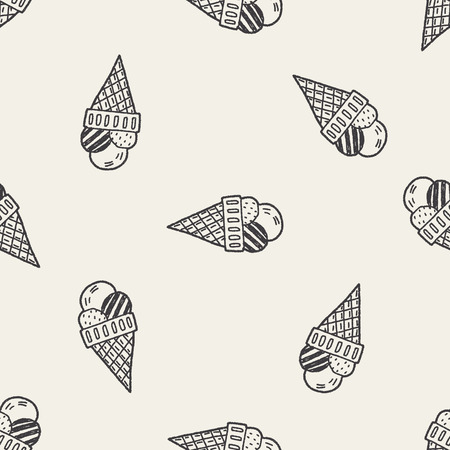 Doodle Icecream seamless pattern background Vector