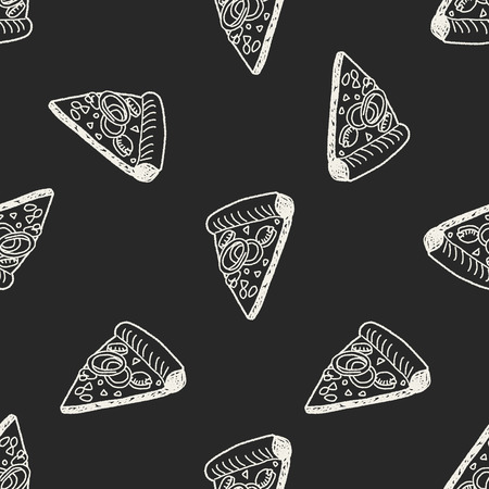 Doodle Pizza seamless pattern background Vector