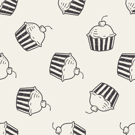 Doodle Cake seamless pattern background Vector