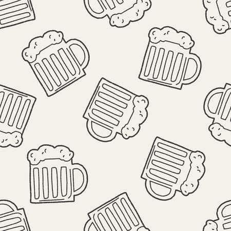 Doodle Beer seamless pattern background Vector