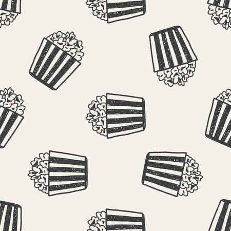 Doodle Popcorn naadloze patroon achtergrond Stock Illustratie