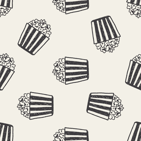 Doodle Popcorn seamless pattern background